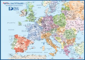 Carte de l'Europe avec codes postaux A3 Sacytrans