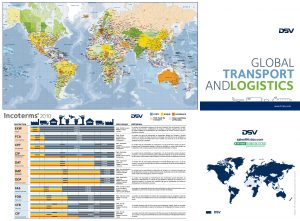 Carte pliee de l'Europe avec les codes postaux et incoterms DSV