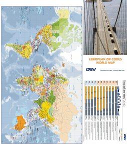 Carte pliée d'Europe codes postaux DSV Belgique
