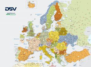 Carte pliee de l'Europe avec les codes postaux DSV