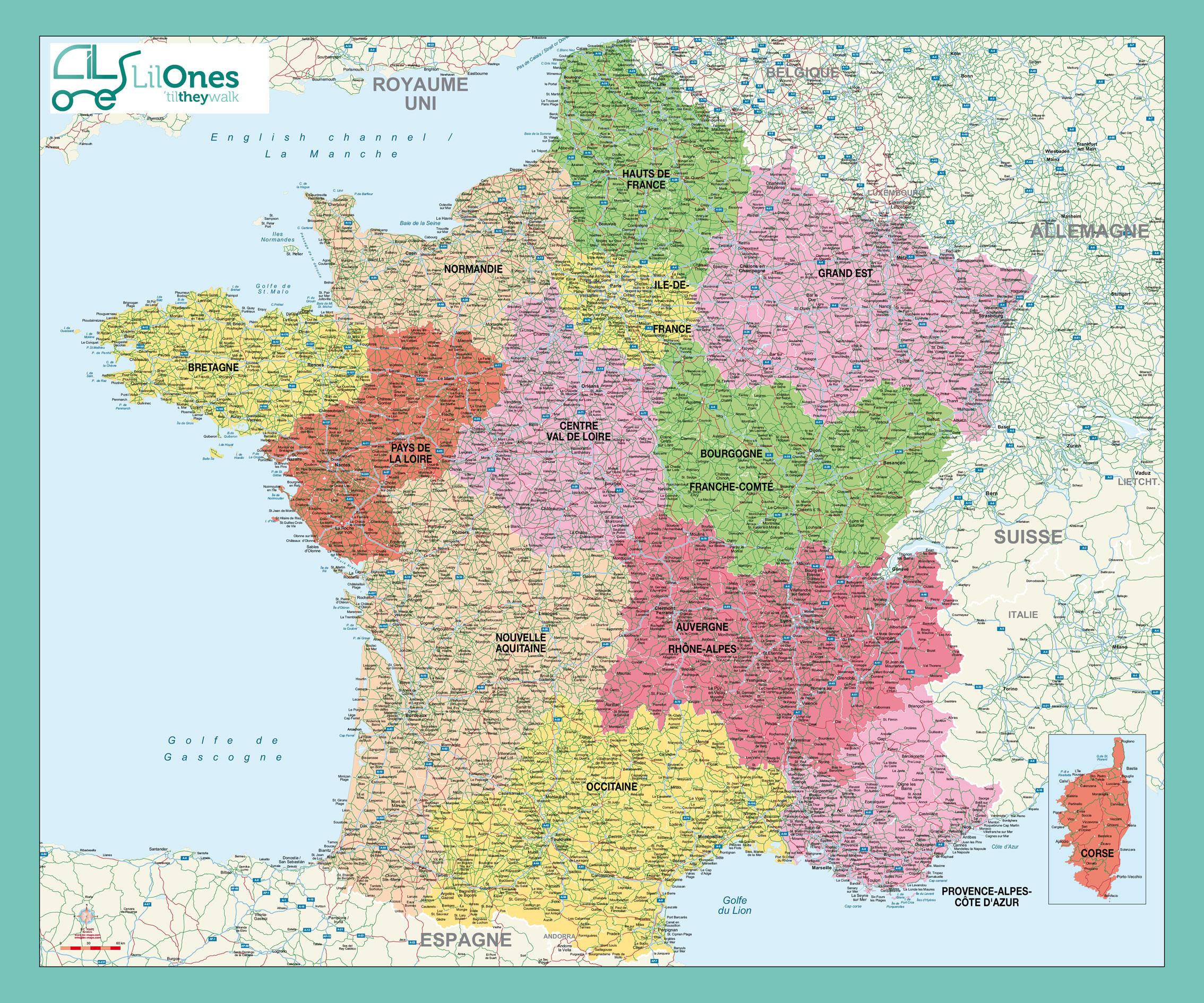 Carte murale de la France Administrative Lil Ones
