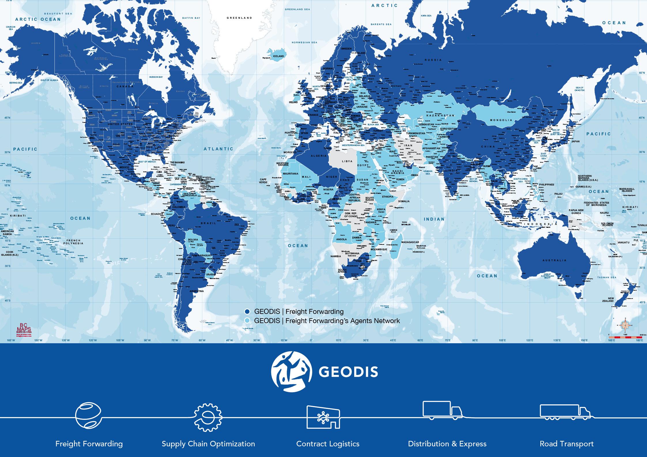 Sous maisn carte du monde politique Geodis