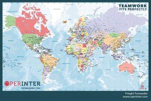 Sous main carte de monde.politique personalisée Operinter