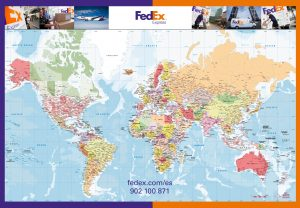 Carte murale du monde politique Fedex
