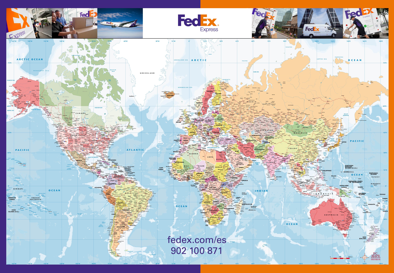 Carte murale du monde politique Fedex