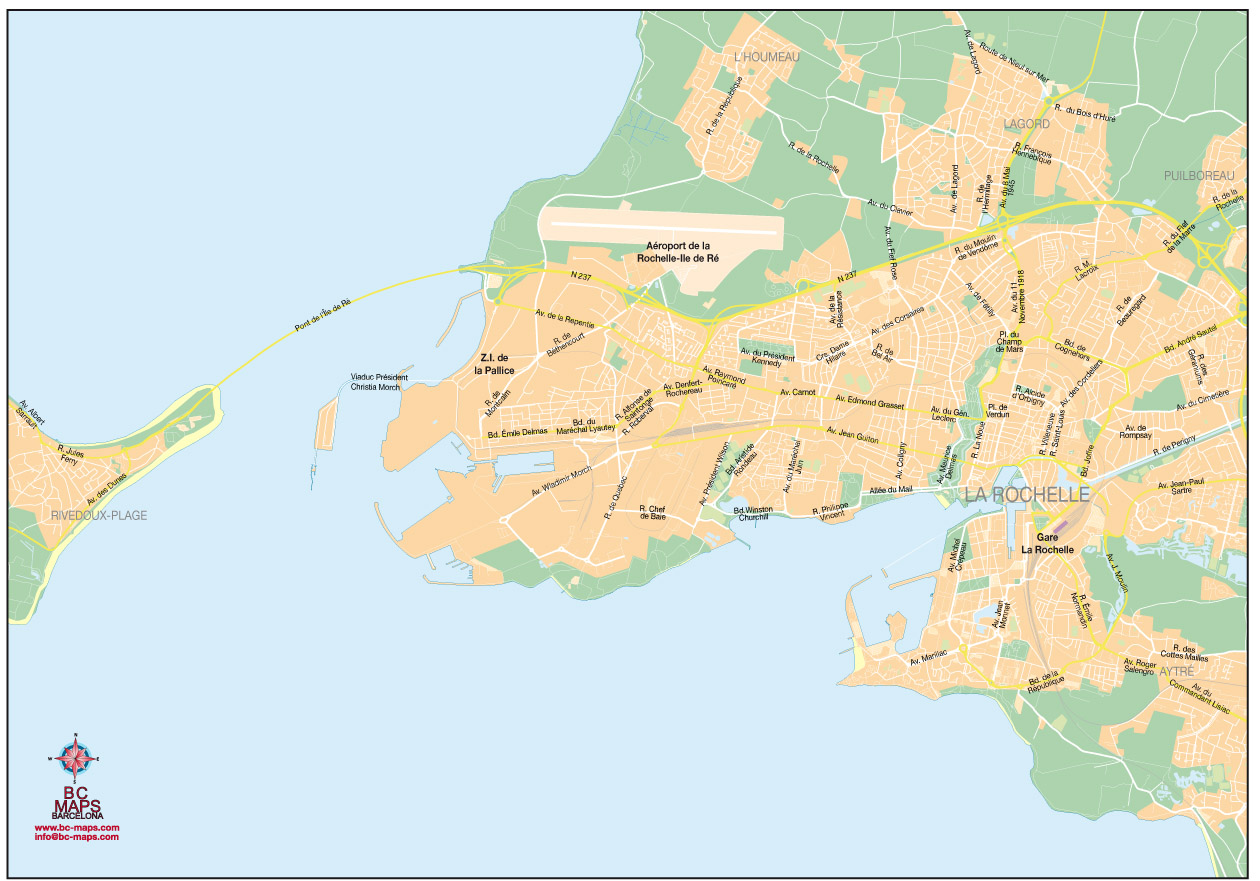 La Rochelle fond carte vectoriel illustrator eps