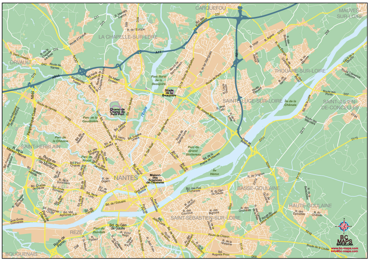 Nantes general fond carte vectoriel illustrator eps
