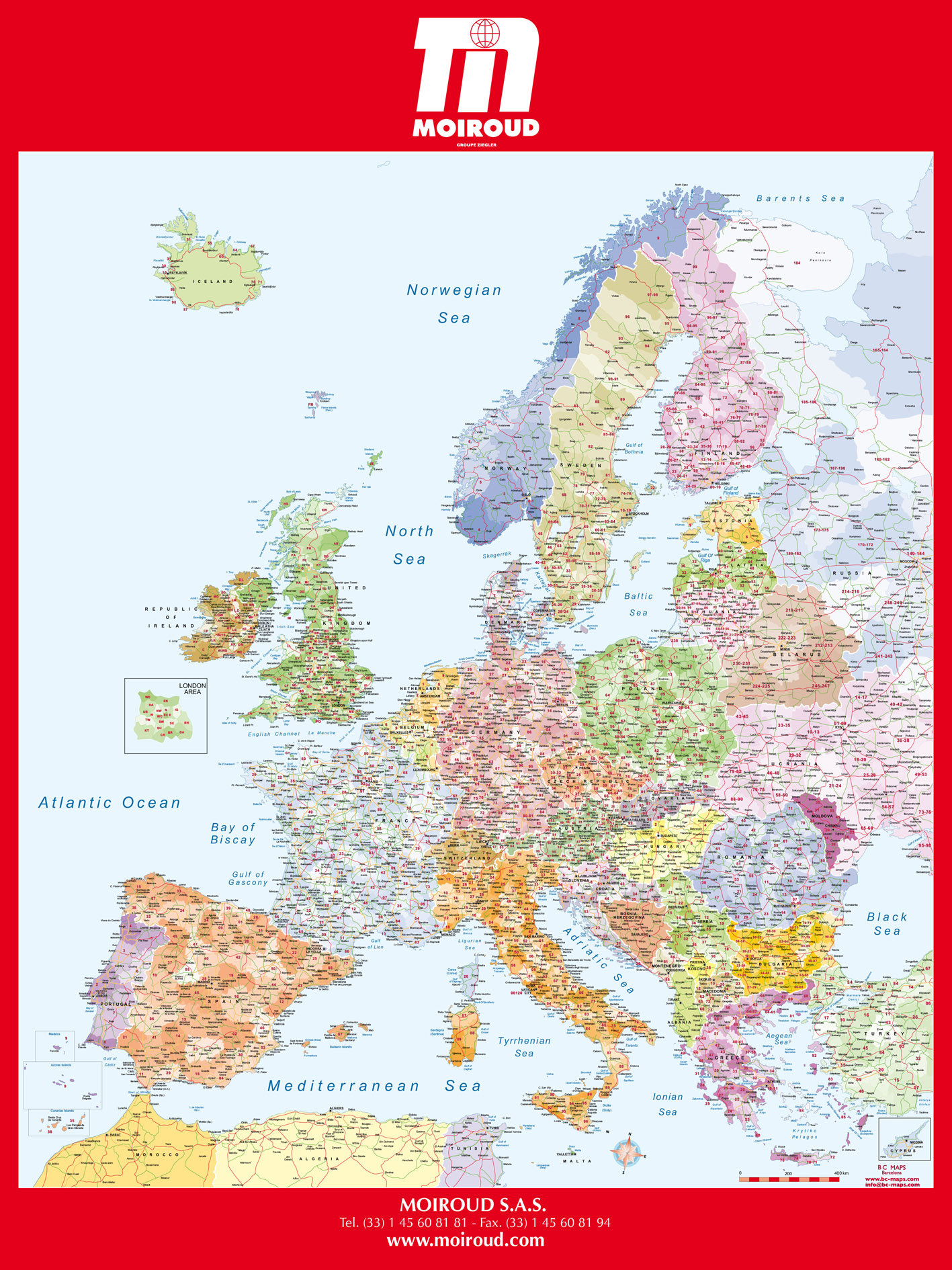 carte mural europe codes postaux zip code