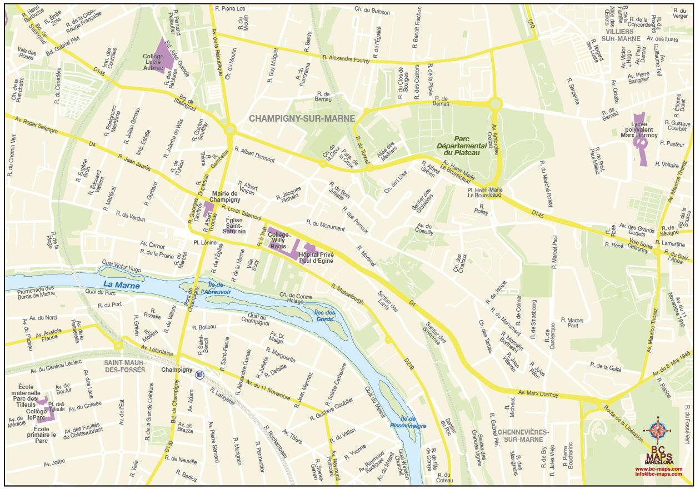 Fond de carte vectoriel Champigny-sur-Marne- llustrator eps