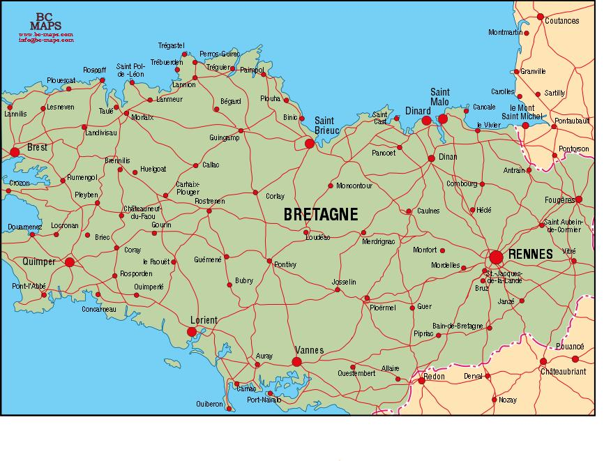Bretagne carte vectoriel Illustrator eps