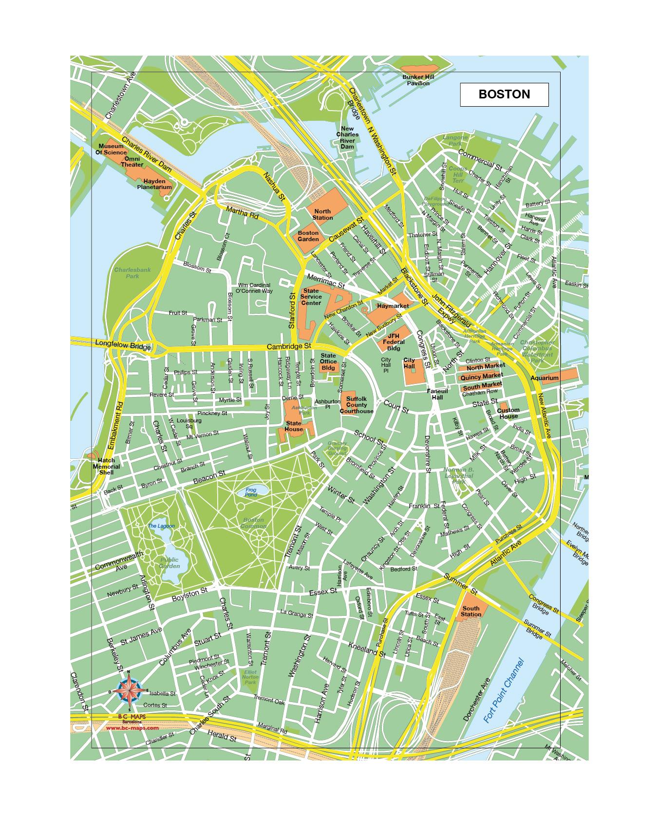 Boston mapa vectorial illustrator eps