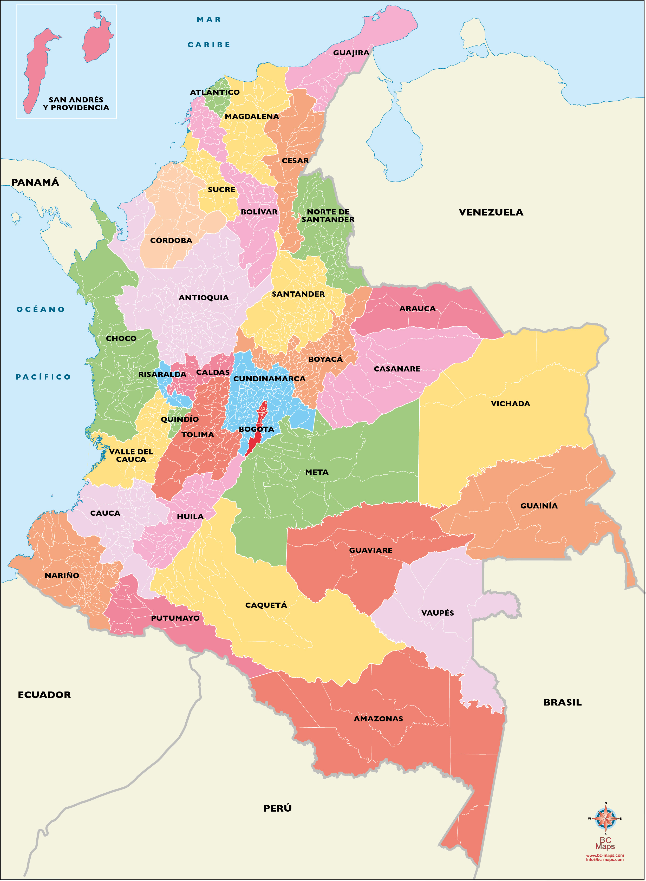 Carte vectoriel Colombia illustrant municipios