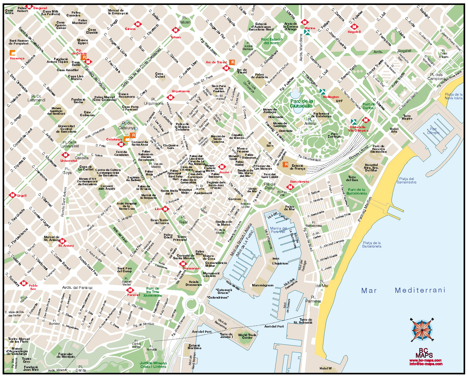 Mapa vectorial illustrator eps Barcelona Centro Esade