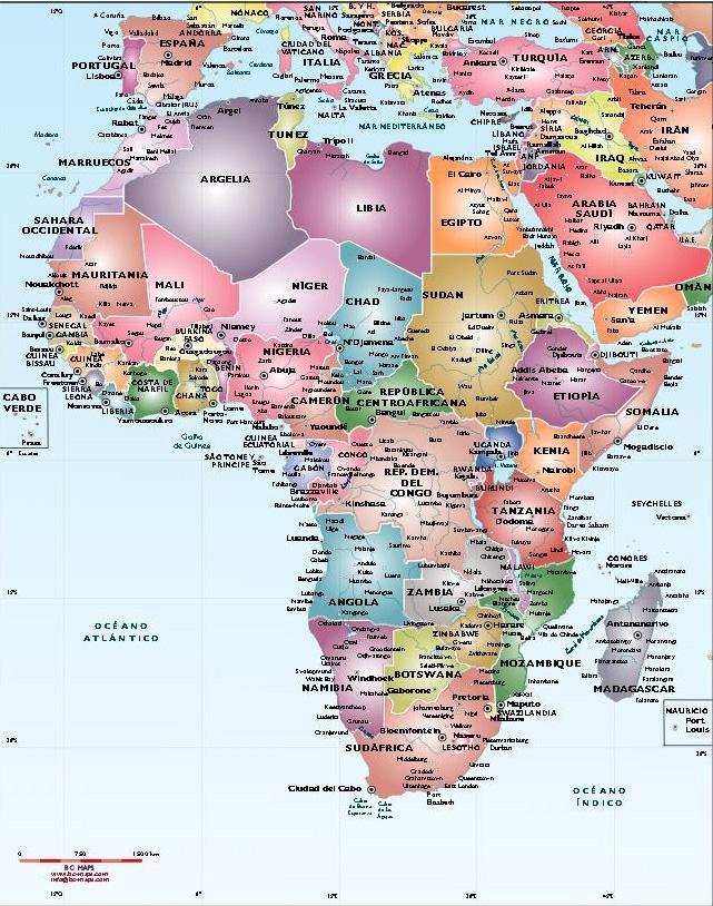 Fond de carte politique Afrique