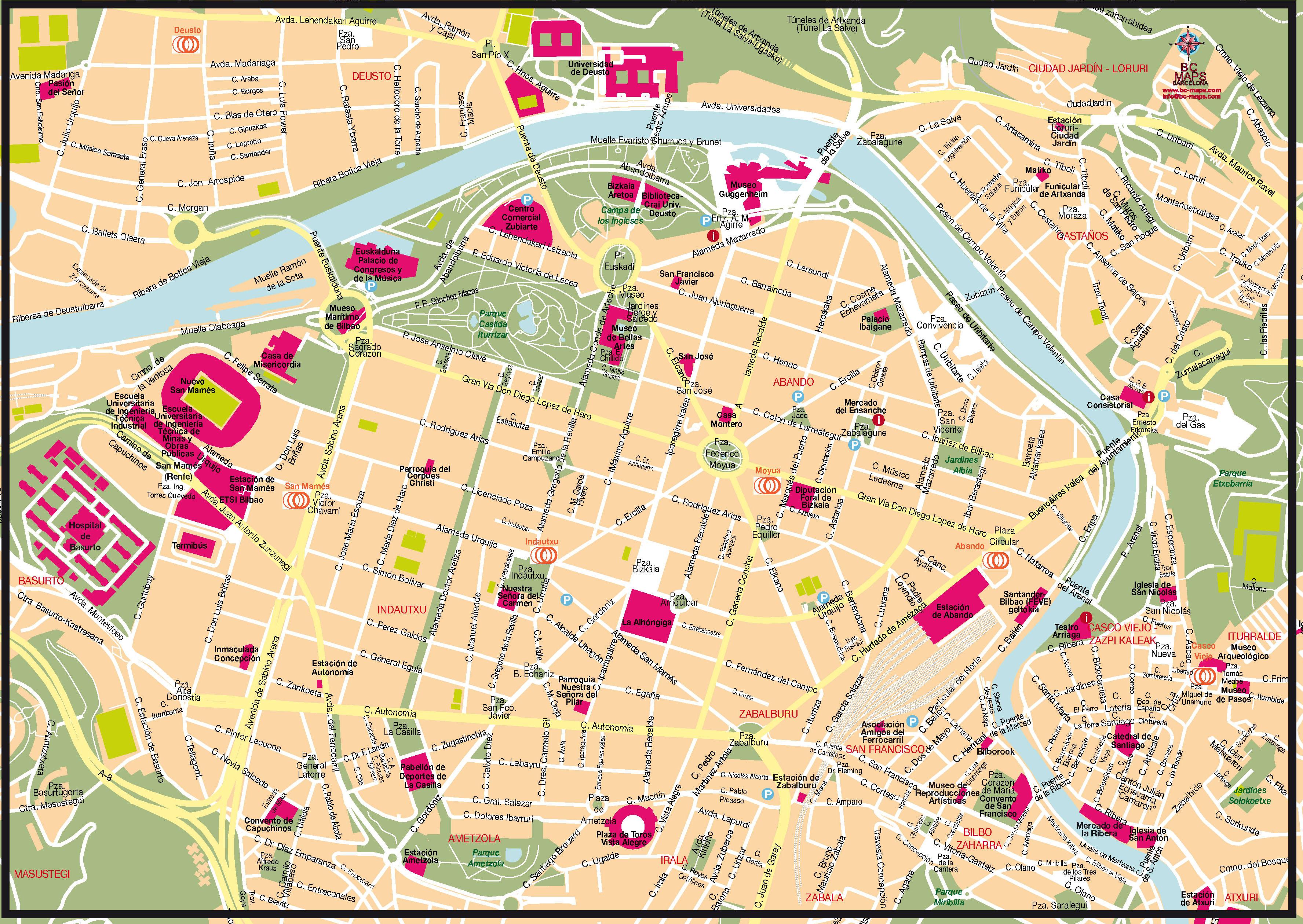 Bilbao Fond de Carte illustrator