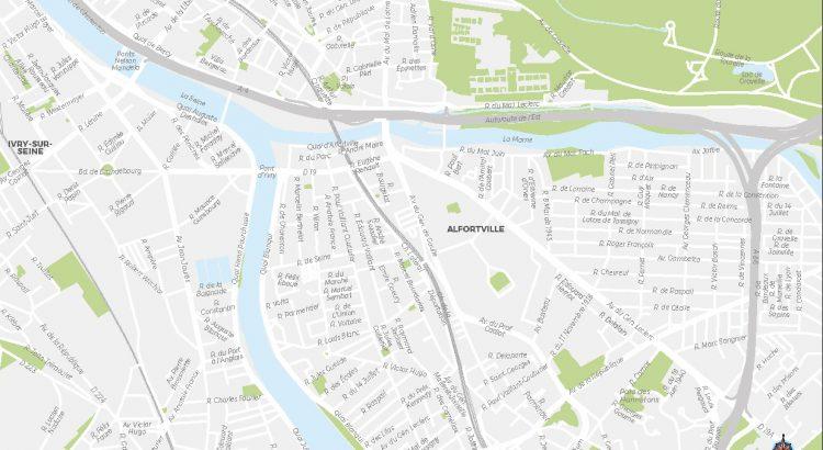 Alfortville plan de ville fond de carte vectoriel illustrator eps