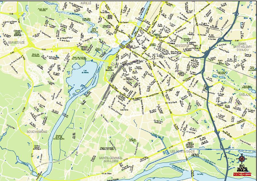 Angers plan de ville fond de carte vectoriel illustrator eps