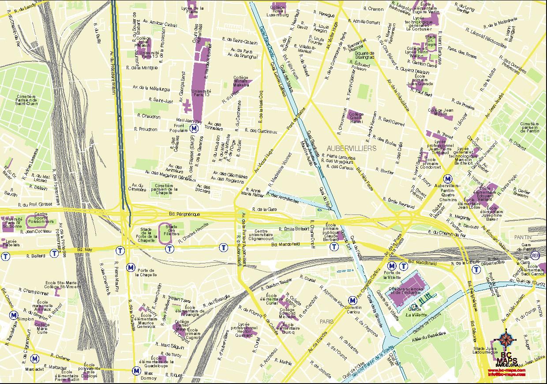 Aubervilliers plan de ville fond de carte vectoriel illustrator eps