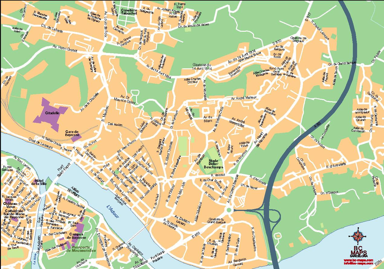 Bayonne plan de ville fond de carte vectoriel illustrator eps N