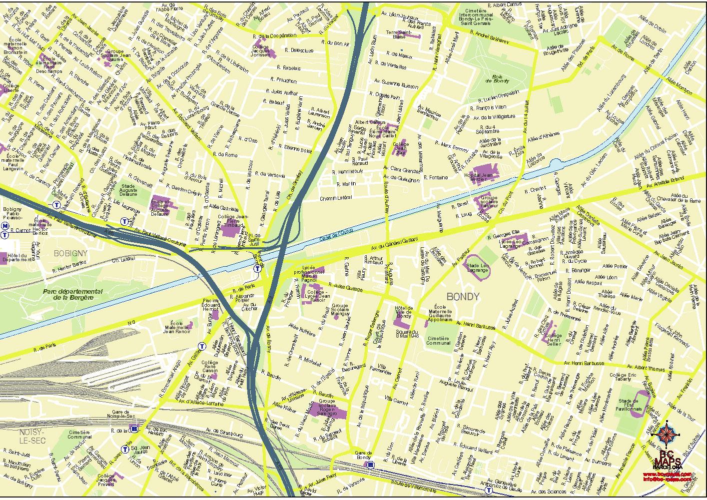 Bondy plan de ville fond de carte vectoriel illustrator eps