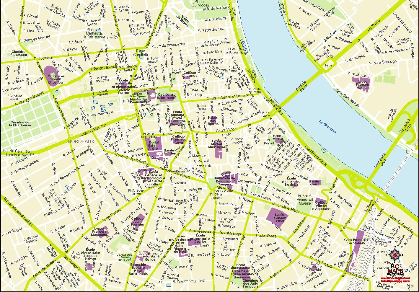 Bordeaux plan de ville fond de carte vectoriel illustrator eps centre
