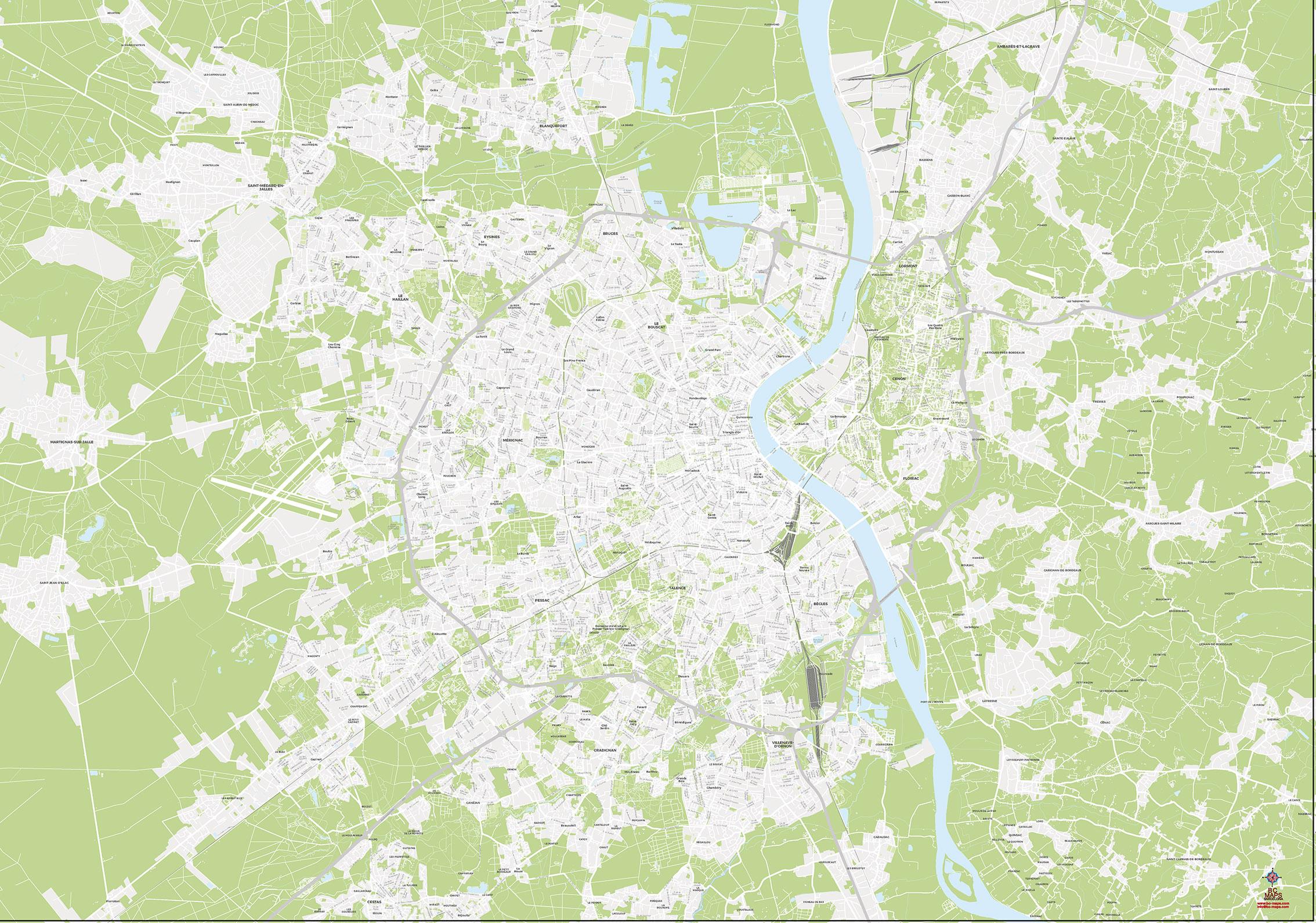 Bordeaux plan de ville fond de carte vectoriel illustrator eps