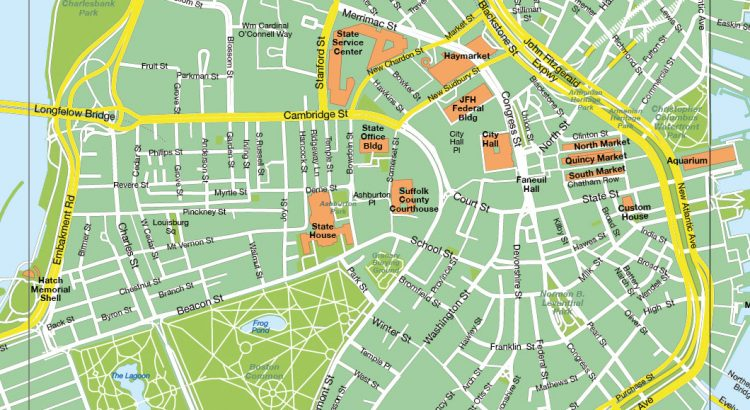 Boston plan de ville fond de carte vectoriel illustrator eps