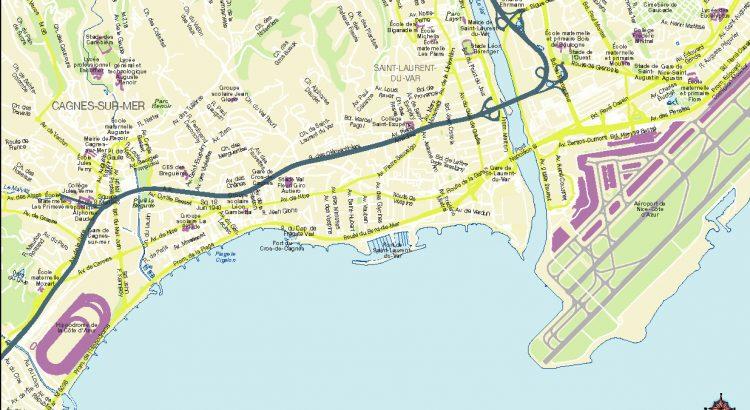 Cagnes sur Mer plan de ville fond de carte vectoriel illustrator eps