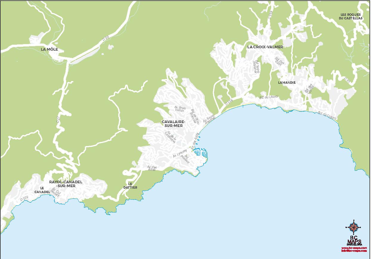 Cavalaire sur Mer plan de ville fond de carte vectoriel illustrator ai eps