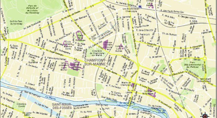 Champigny sur Marne plan de ville fond de carte vectoriel illustrator eps