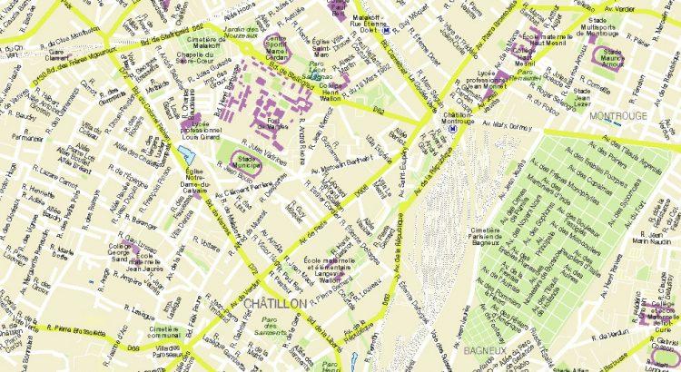 Châtillon plan de ville fond de carte vectoriel illustrator eps