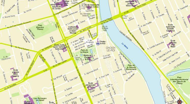 Choisy le Roi plan de ville fond de carte vectoriel illustrator eps