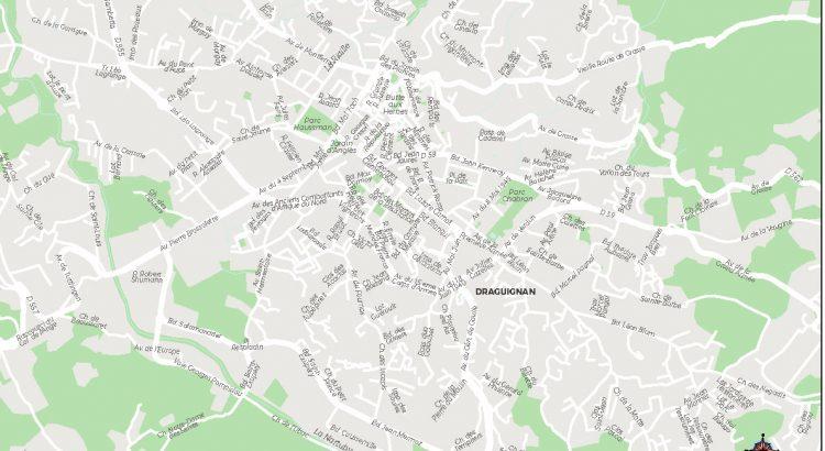 Draguignan plan de ville fond de carte vectoriel illustrator eps