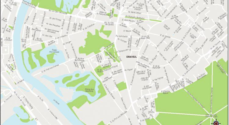Draveil plan de ville fond de carte vectoriel illustrator eps