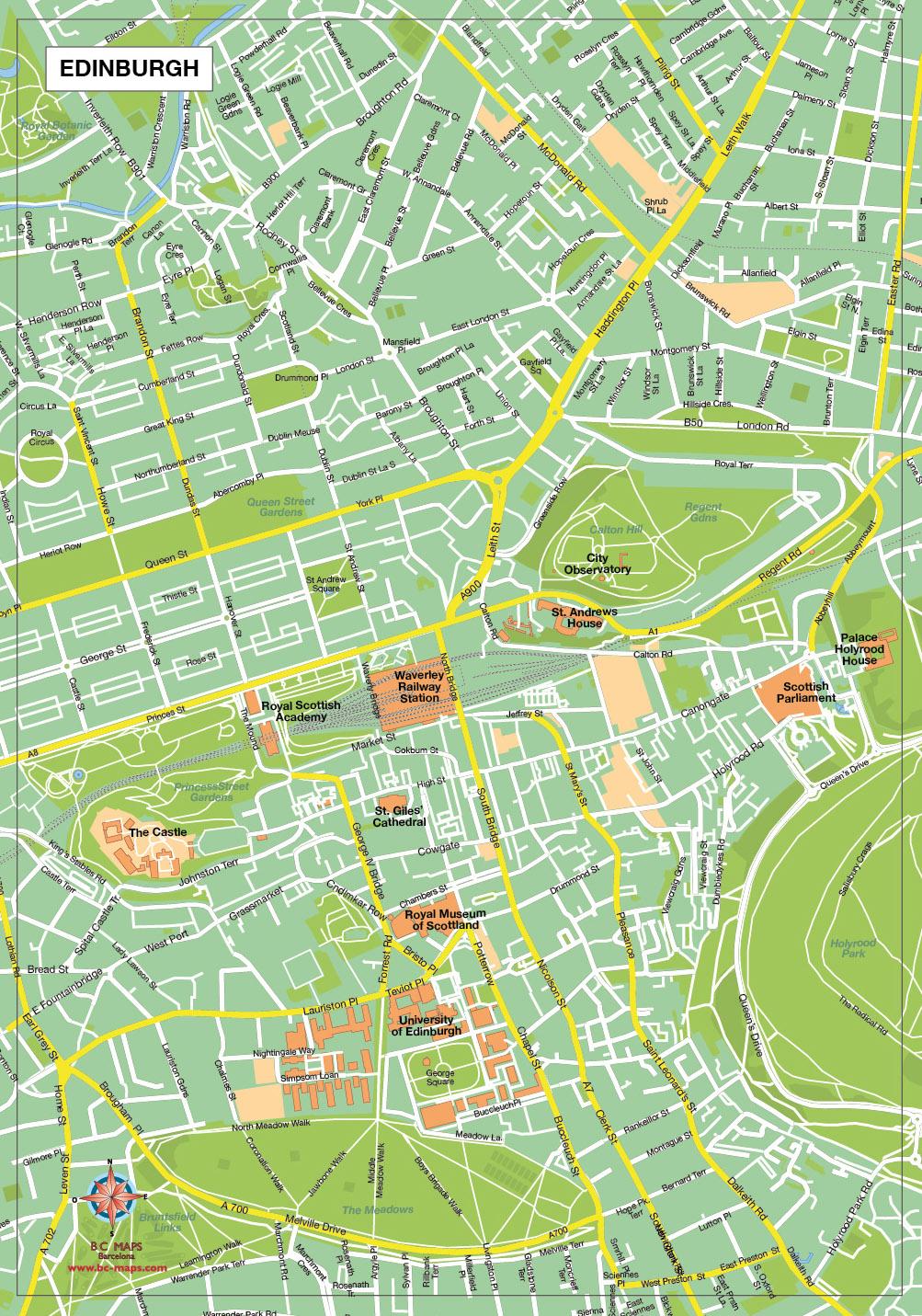 Edinburgh plan de ville fond de carte vectoriel illustrator eps