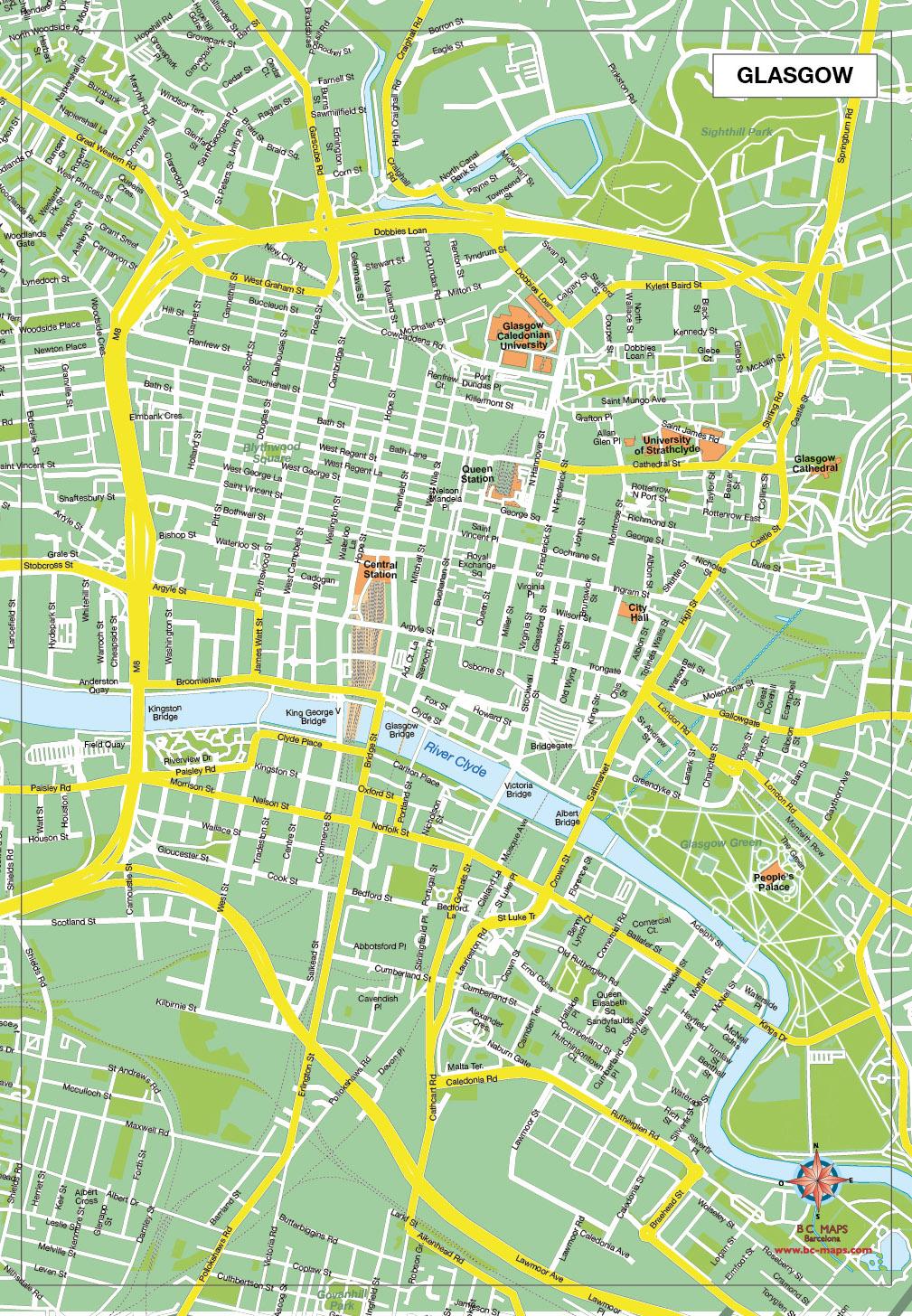 Glasgow plan de ville fond de carte vectoriel illustrator eps