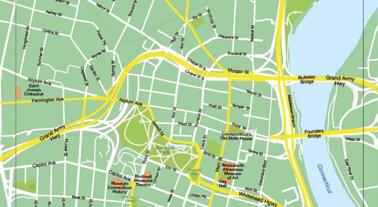 Hartford plan de ville fond de carte vectoriel illustrator eps