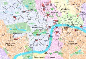 Zoom A5 Londres plan de ville fond de carte vectoriel illustrator eps
