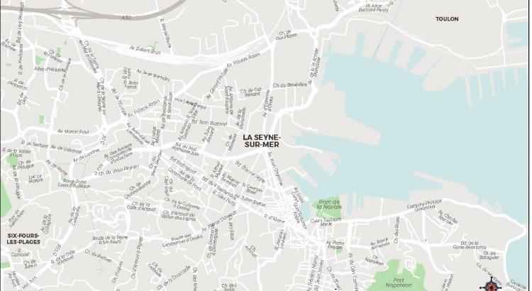 La Seyne sur Mer lan de ville fond de carte vectoriel illustrator eps