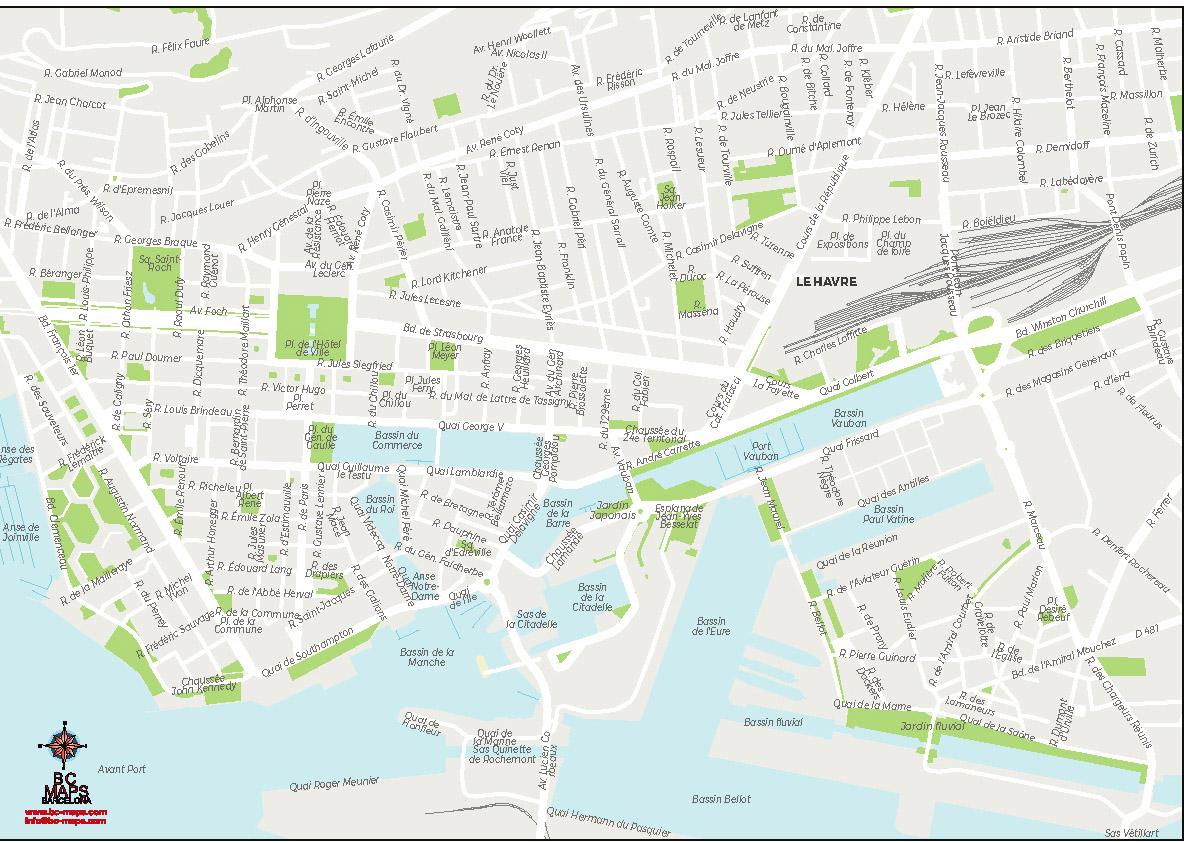 Le Havre plan de ville carte vectorielle illustrator