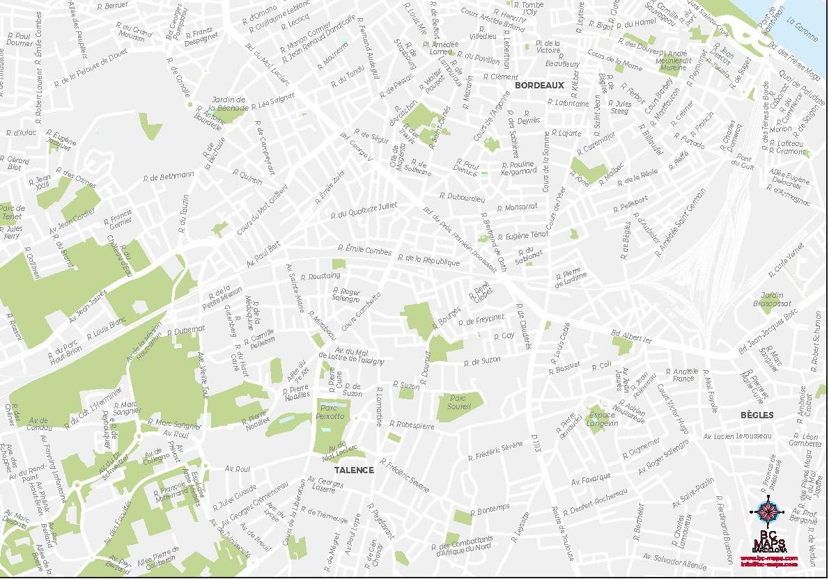 Talence plan de ville fond de carte vectoriel illustrator eps