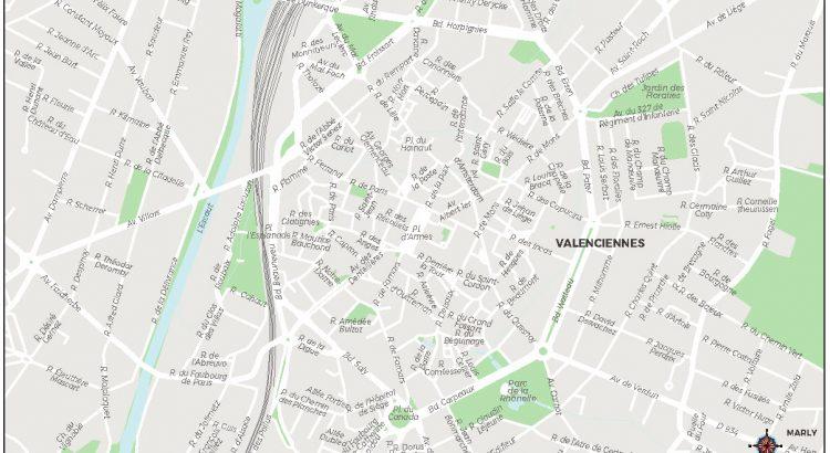 Valenciennes plan de ville fond de carte vectoriel illustrator eps