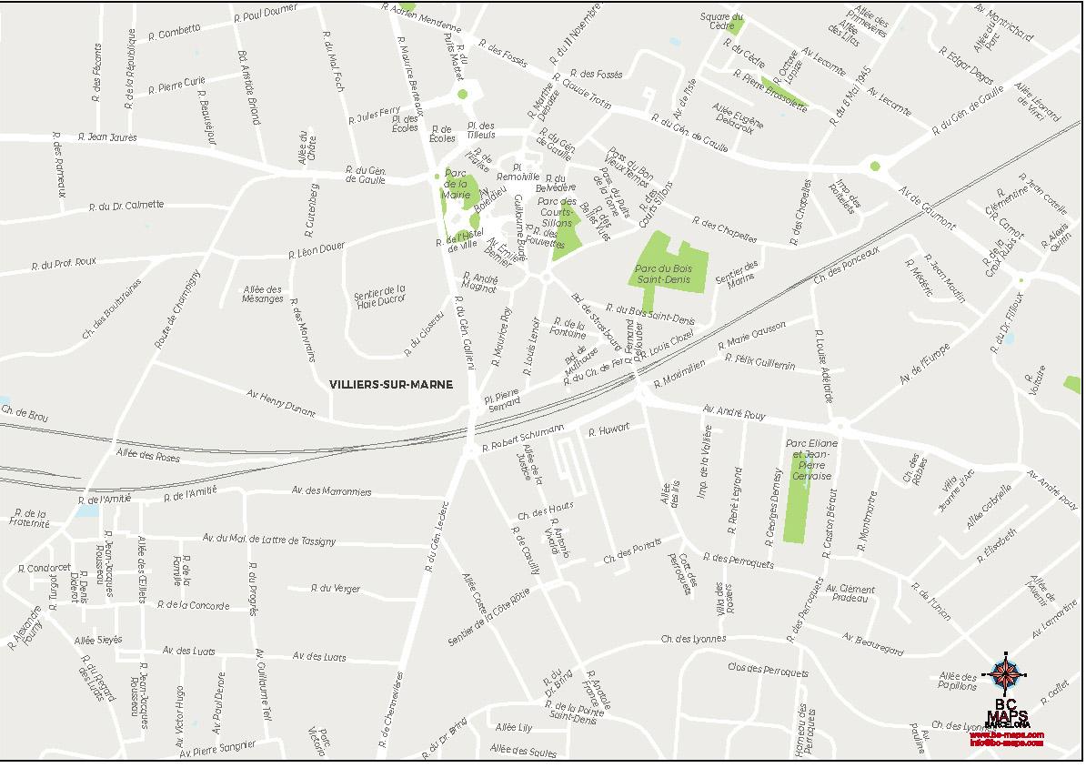 Villiers sur Marne plan de ville fond de carte vectoriel illustrator eps