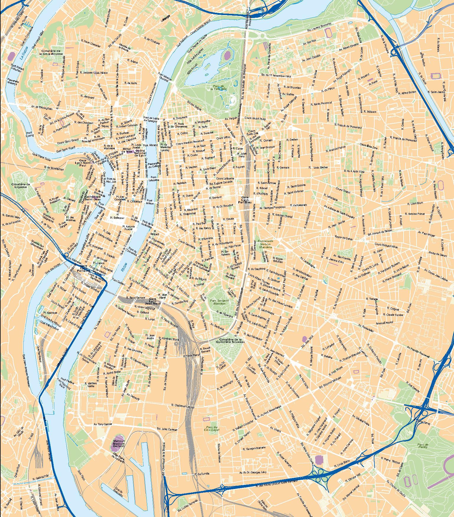 Lyon plan de ville fond de carte vectoriel illustrator ai eps