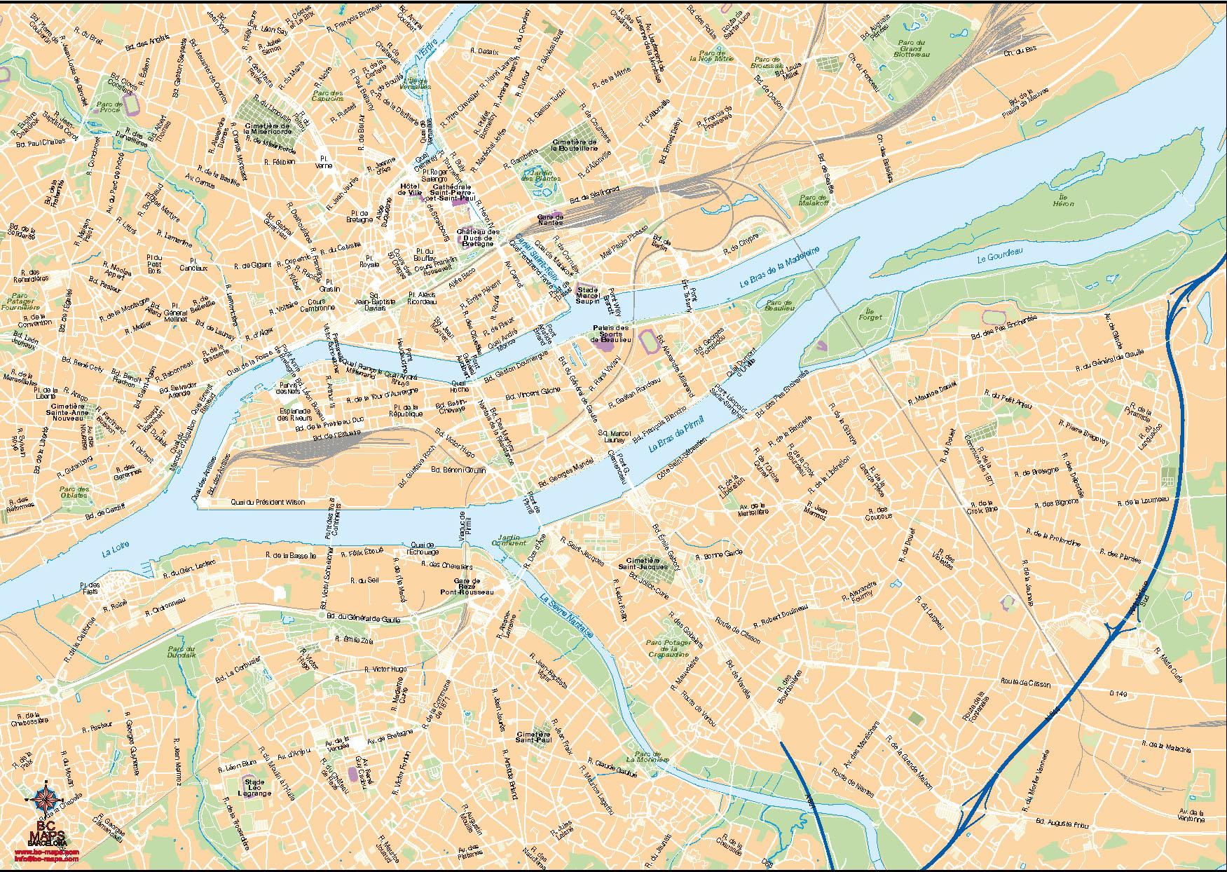 Nantes plan de ville fond de carte vectoriel illustrator ai eps